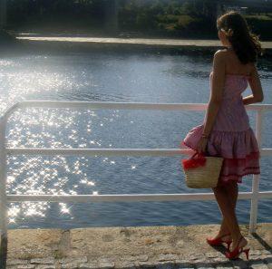 Vestido marinero de rayas rojo/blanco