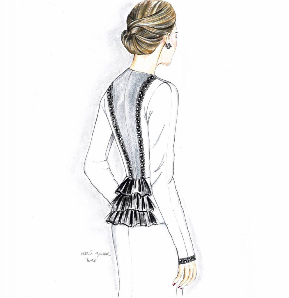 Ilustración de uno de nuestros tailleurs, con espalda en tul, cintas de pedrería y volantes de gasa.